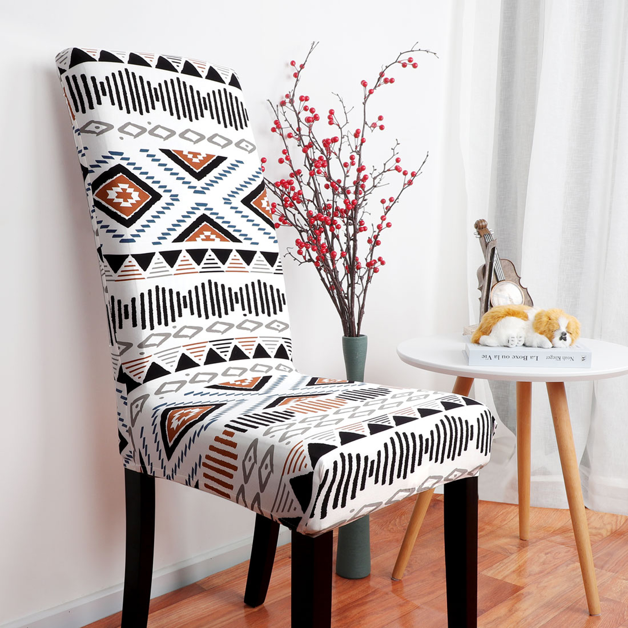 4pcs Pattern Dining Chair Cover Stretch Bar Stool
