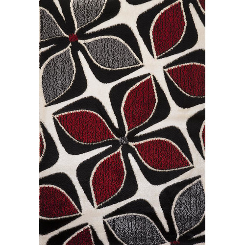Luxury Home Signature Floral Red/Gray Area Rug
