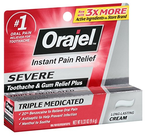 5 Pack - Orajel Severe Pain Relief Toothache/Gum Max Triple Medicated Cream Each