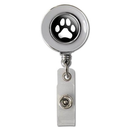 Paw Print Dog Cat White on Black Retractable Reel Chrome Badge ID Card Holder Clip
