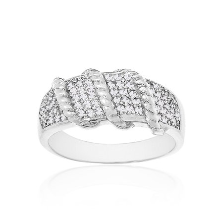 Rhodium Plated Brass Ring - Ladies Diamond Accent Ribbed Design Ring in Rhodium Plated Brass