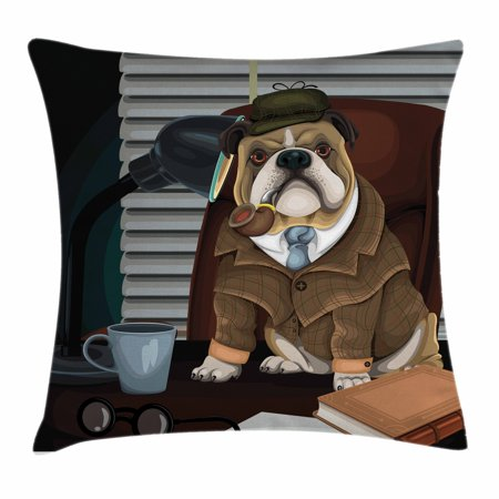 English Bulldog Throw Pillow Cushion Cover, Traditional English Detective Dog with a Pipe and Hat Sherlock Holmes Image, Decorative Square Accent Pillow Case, 16 X 16 Inches, Multicolor, by Ambesonne
