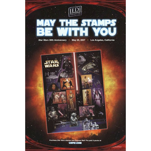 Star Wars Episode Iv A New Hope Movie Poster Print 30th Anniversary Stamps Size 24 X 36 Black Poster Hanger Walmart Com Walmart Com