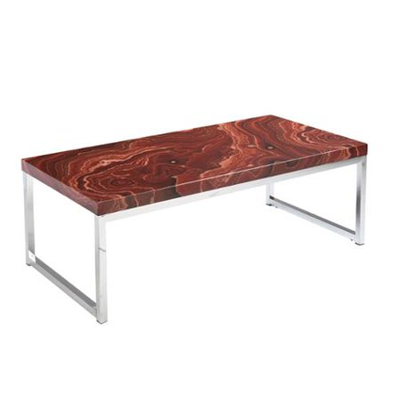 Upton Home Shilling Red Marble Faux Stone Coffee Cocktail Table