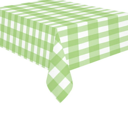 MYPOP Lime Green Check Cotton Linen Tablecloth 60x84 Inches, Green White Gingham Table Cloth Cover for Holiday Party -