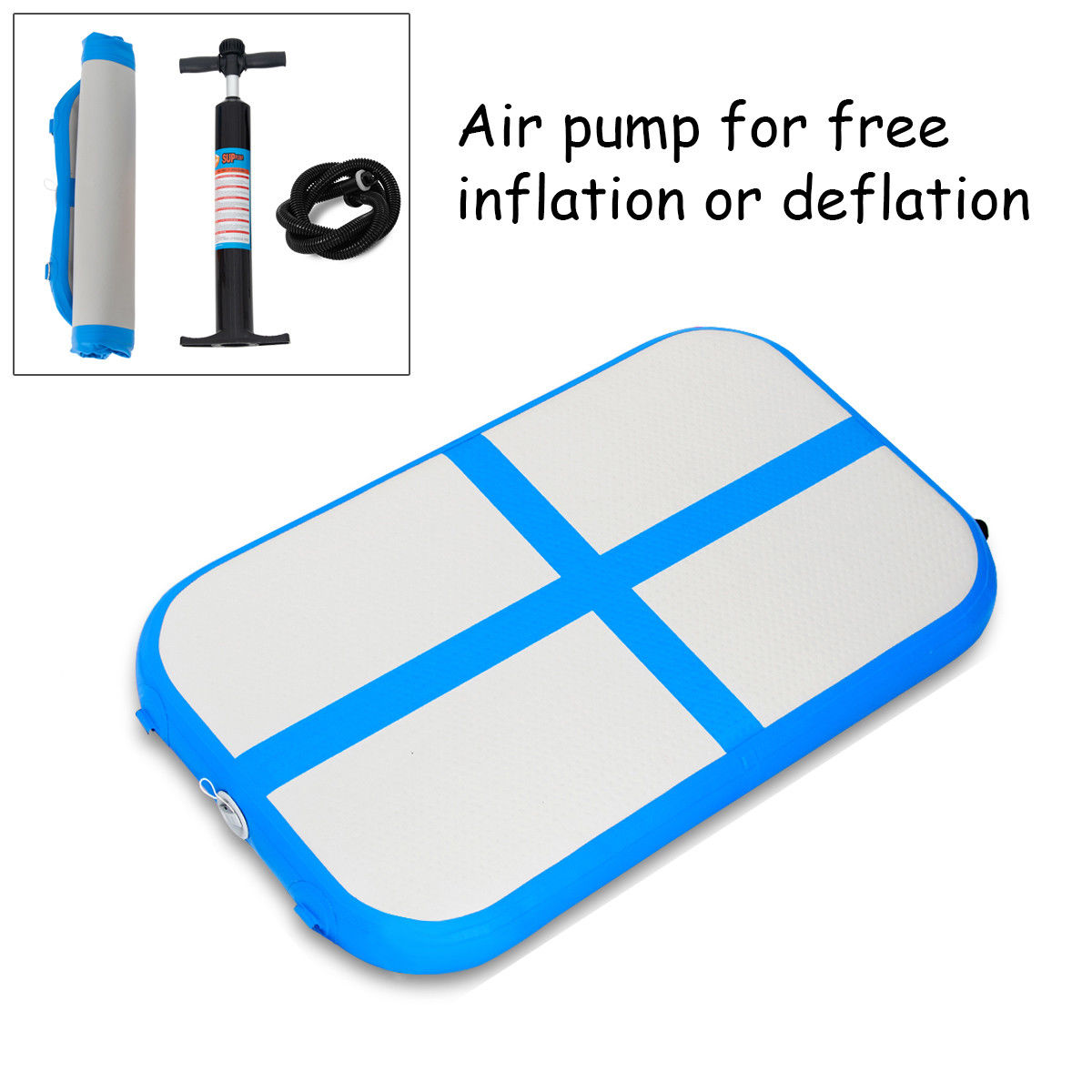 3.3' Inflatable Gymnastics Mat Air Track Floor Mat Water Buoyancy w/ Pump Blue - image 10 de 10