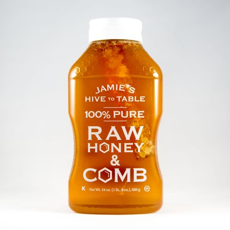 Jamie's Hive to Table 100% PURE Raw Honey & Honey Comb, 100% Natural, Nature Made Honey with No Fillers, 24 Oz. Bottle (Orange Honey Stingers)