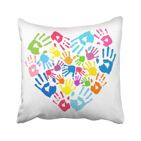 ARTJIA Colorful Daycare Heart Of The Handprints Father Mother And Children Hand Child Kid Happy Pillowcase Throw Pillow Cover 18x18 inches (Handprints Daycare)
