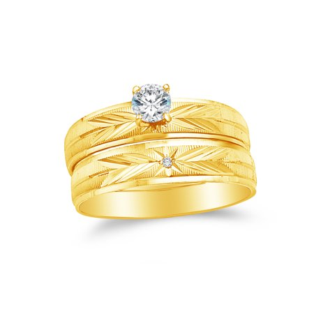 14k Two Toned Gold CZ Cubic Zirconia Round Bridal Engagement and Wedding Two Ring Set (1/4ct. Center Stone) , Size 7