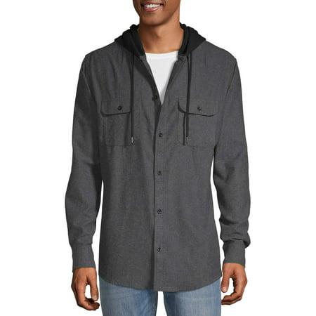 No Boundaries Mens Hooded Long Sleeve Flannel