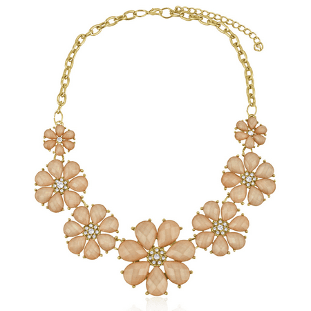 Pave Crystal Flower (Lux Accessories Peach Floral Flower Pave Crystal Statement Necklace )