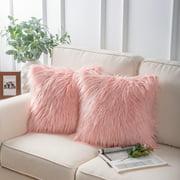 "Phantoscope Luxury Mongolian Style Plush Faux Fur Series Decorative Throw Pillow, 18"" x 18"", Pink, 2 Pack"