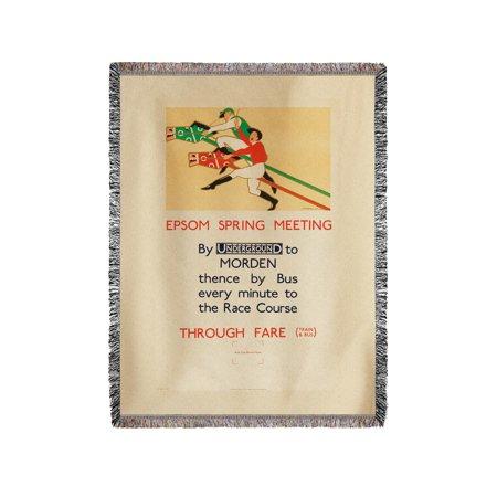 Underground - Epson Spring Meeting Vintage Poster (artist: F. H. Warren) England c. 1929 (60x80 Woven Chenille Yarn (Epson V12h004m02 Middle Throw)