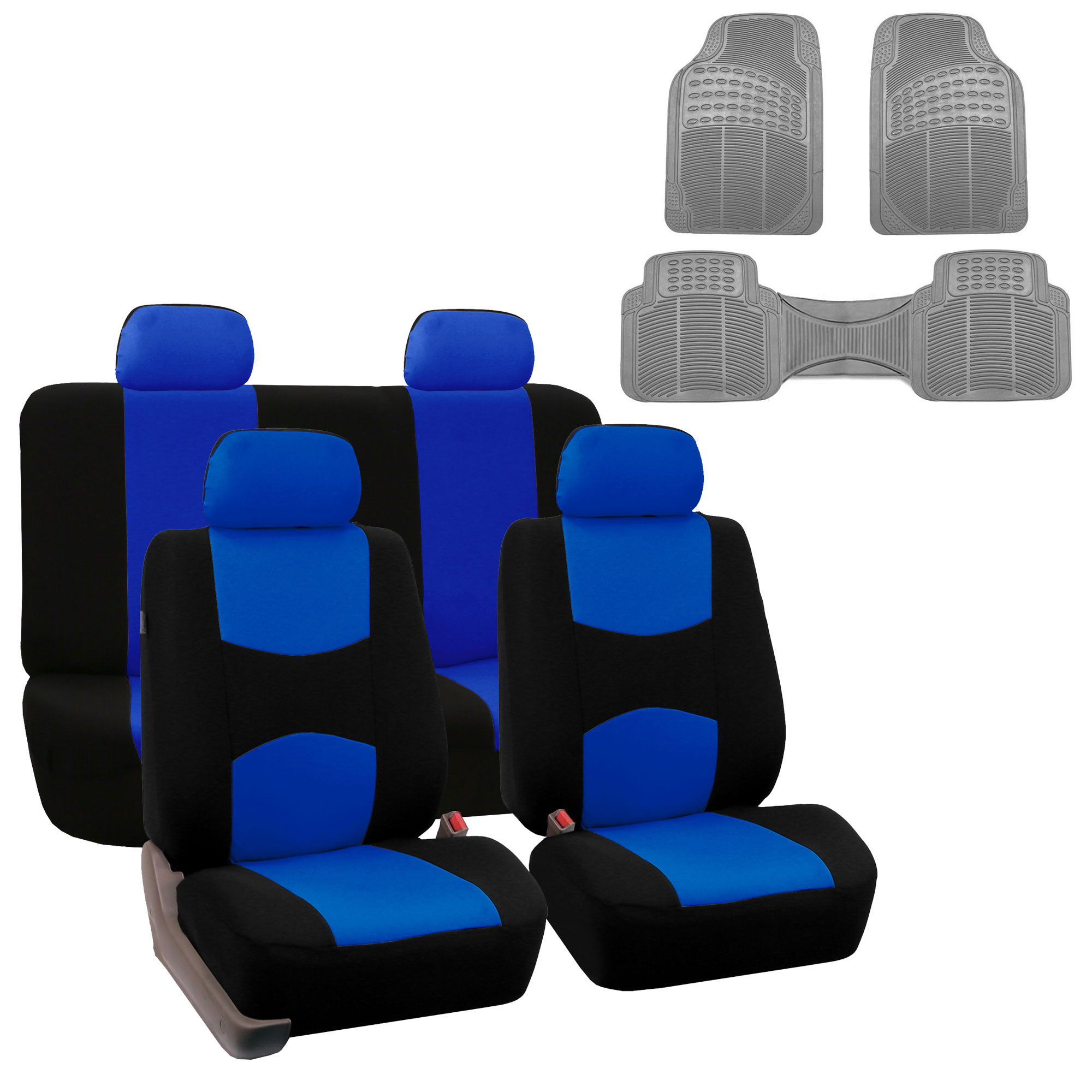 Car Seat Cover Full Set For For Auto Car SUV Truck Van w/ Floor Mat Blue