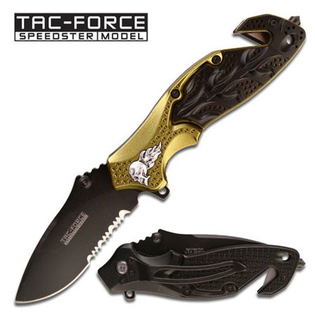 """Skull """" Heavy Rescue Folder Spring Assisted Knife - Green & Blac"""