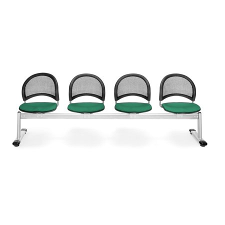 OFM Moon Series Model 334 4-Unit Beam Seating with 4 Fabric Seats, Shamrock (Moon 4 Beam Seating)
