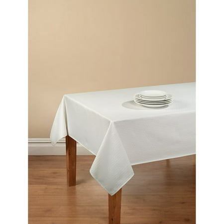 Mainstays Hyde Embossed Fabric Tablecloth with Vinyl Table Protector, White, 52