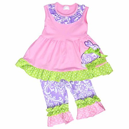 Unique Baby Girls Damask Easter Bunny Easter Outfit (3T/S, Pink) - Easter Bunny Baby Outfit