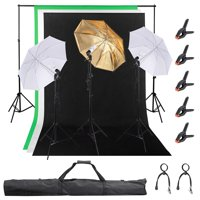 """Yescom 5x10 Ft Photography Continuous Backdrop Live Stream Game Webcam Video Lighting Kit 10Ft Support stand 33"""" Umbrella 7Ft Light Stand Set"""