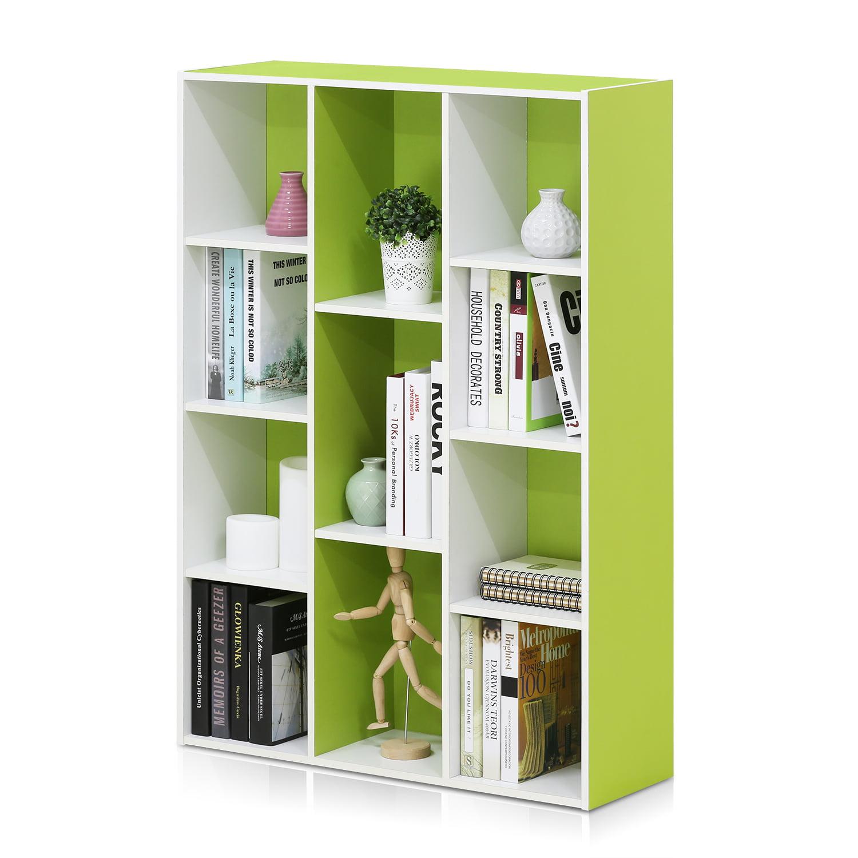 Furinno 11107 11-Cube Reversible Open Shelf Bookcase, White/Green