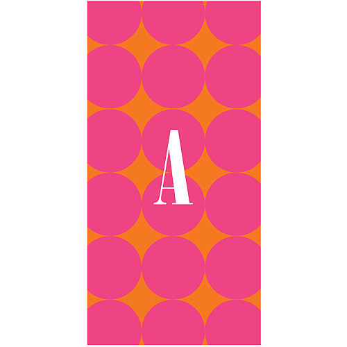 Personalized Pink Polka Dots Beach Towel