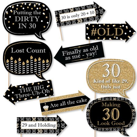 Funny Adult 30th Birthday - Gold - Birthday Party Photo Booth Props Kit - 10 Count