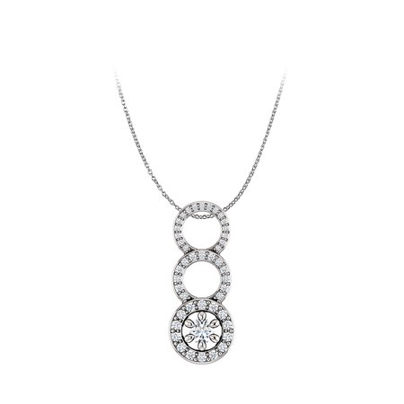 One Carat CZ Graduated Circle Pendant in 925 Silver