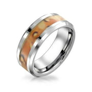 Personalize Customize Brown Army Military Camouflage Inlay Couples Titanium Wedding Band RingsforMen for Women Silver Tone 8MM