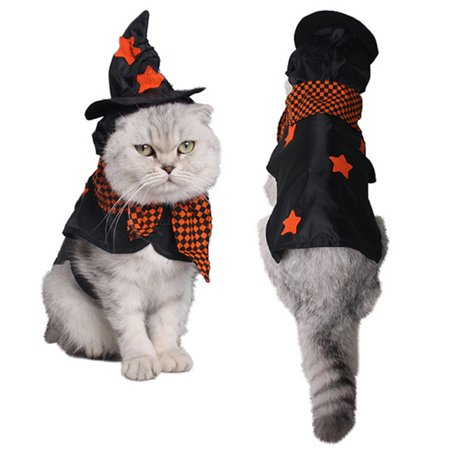 Halloween Pet Costume,Legendog Plaid Pattern Cosplay Dog Costume Cat Costume Pet Costume with Witch Hat for Dog Cat