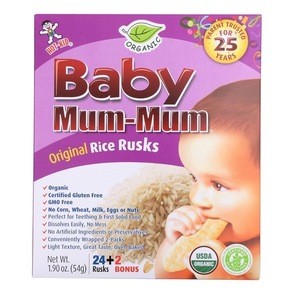 Hot Kid Organic Baby Mum Original Rice Rusks - Pack of 6 - 1.76 Oz.