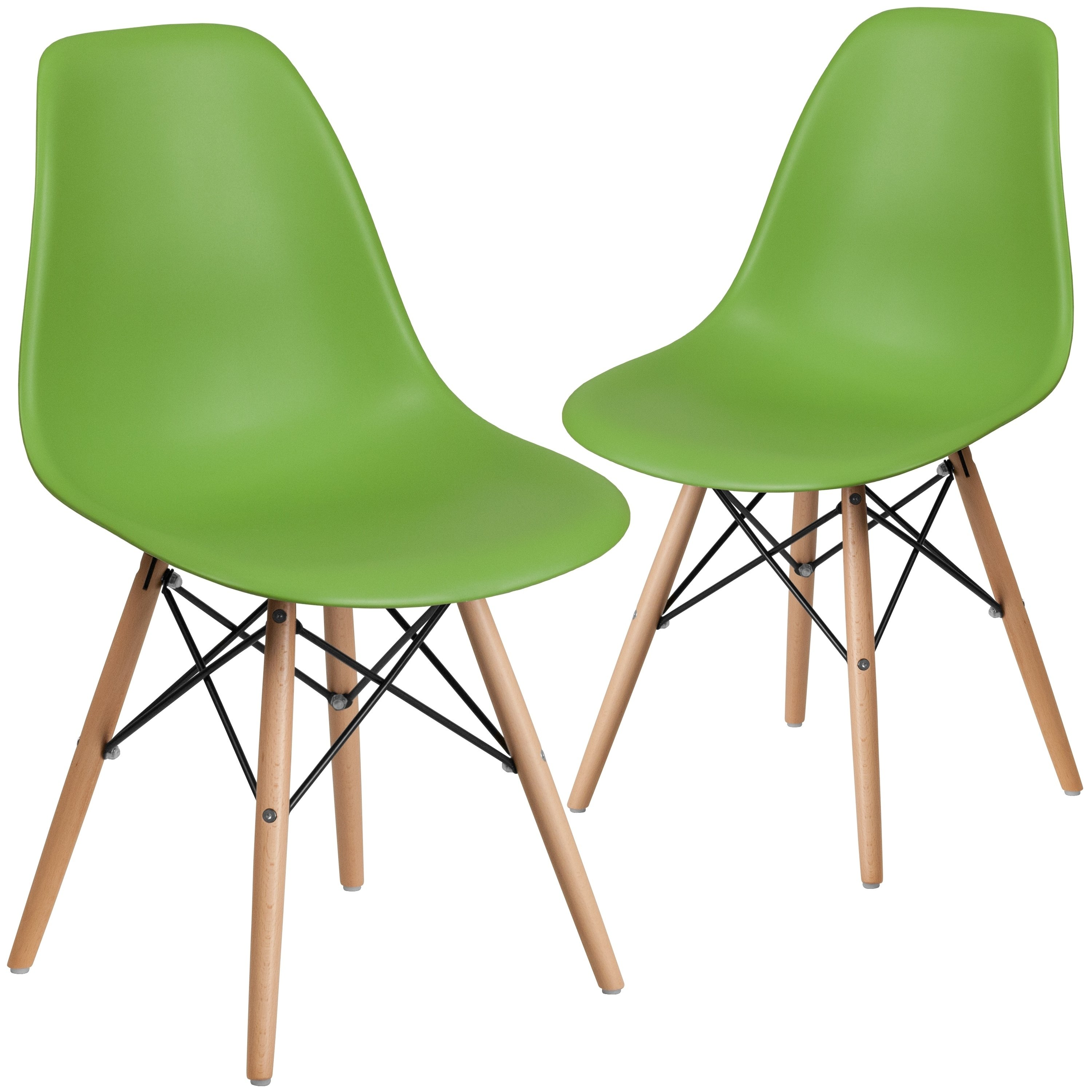 Lancaster Home 2 Pk. Elon Series Plastic Chair with Wood Base