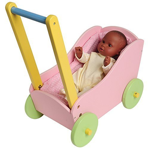 "CP Toys Hardwood Doll Carriage for Pretend Play, Fits 12""-15"" Dolls"