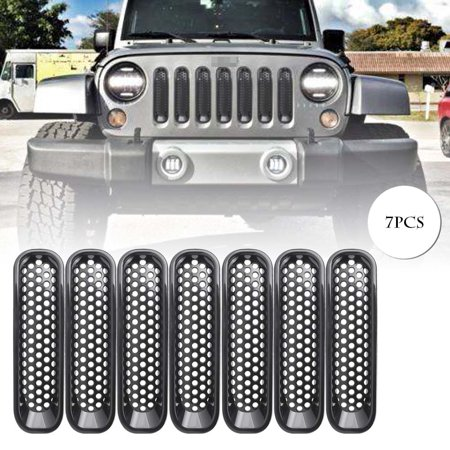 GZYF 7Pcs Jeep Front Grille Grill Mesh Insert for 2007-2017 Jeep Wrangler Black