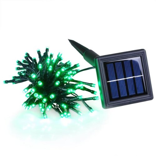 Solar Powered Outdoor Christmas String Light in Green 37ft 100 LEDs Fairylights