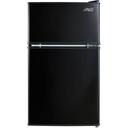 Arctic King 3.2 Cu Ft Two Door Mini Fridge with Freezer, Black
