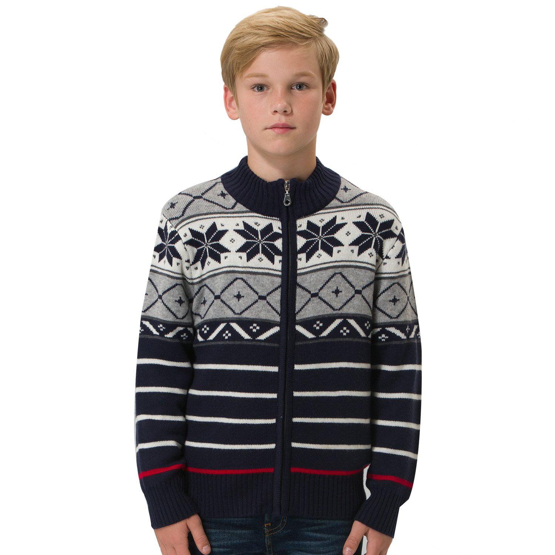 Leo&Lily Boys' Wool Blends Heavy Pullover Zipper Front Boys Grey Varsity Jacket Sweater