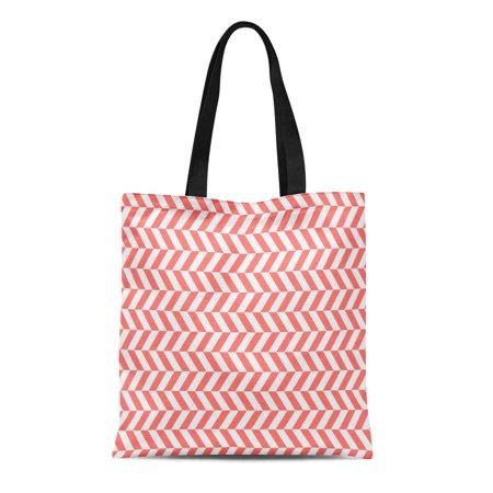 SIDONKU Canvas Tote Bag Classic Coral Retro Herringbone Twill Zigzag Weave Pattern Broken Reusable Handbag Shoulder Grocery Shopping -