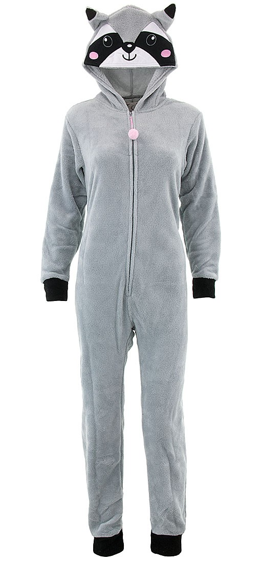 600eea4f4 PJ Couture - PJ Couture Women s Gray Raccoon Hooded One-Piece ...