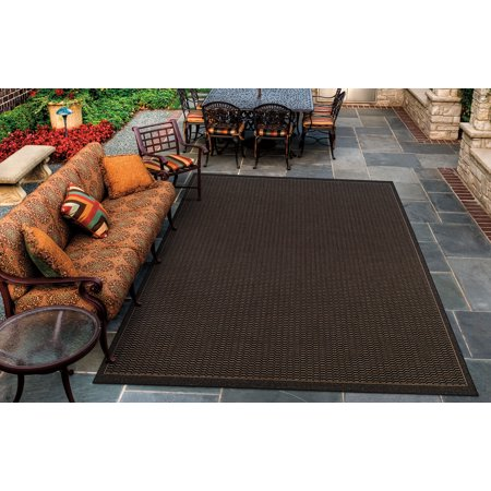 Couristan Black Saddle Stitch - Couristan Recife Saddle Stitch Rug, Black/Cocoa