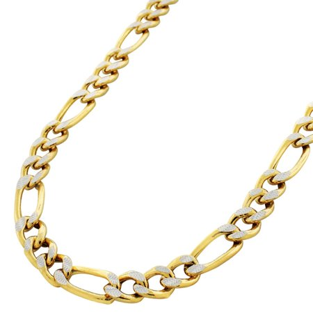 10K Yellow Gold 8mm Hollow Figaro Link Diamond Cut Pave Chain Necklace 22