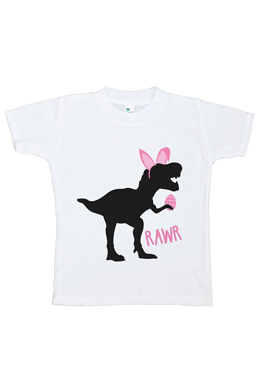 Custom Party Shop Baby Girls Dinosaur Happy Easter T-shirt - Medium Youth (10-12) T-shirt