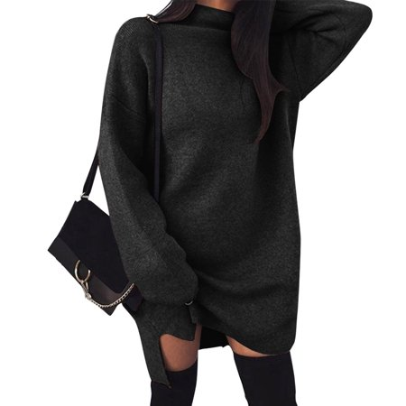 Codream - Autumn and Winter Pullover Women s Casual Loose Knitted Sweater  Dress Turtleneck Long Sleeve Sweater Jumper (Black L) - Walmart.com 9196db10b
