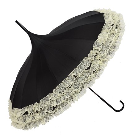Anti-Uv Sunproof Parasol, Lace Trim Sunshade Umbrella with Hook Handle Black - Black Lace Umbrella