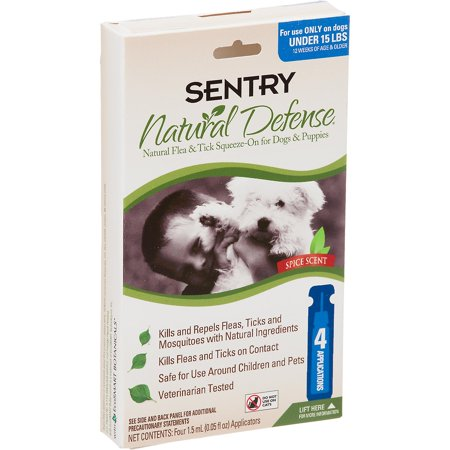 Sentry Natural Defense Flea & Tick Squeeze-On for Dogs under 15 lbs (4