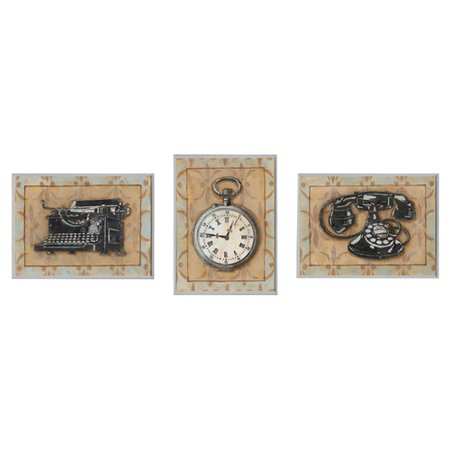 Stupell Industries Stopwatch, Typewriter, and Rotary Phone Retro Home Office 3 Piece Graphic Art Wall Plaque Set