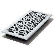 "Decor Grates 6"" x 14"" Painted White Scroll Design Steel Wall/Ceiling Register"