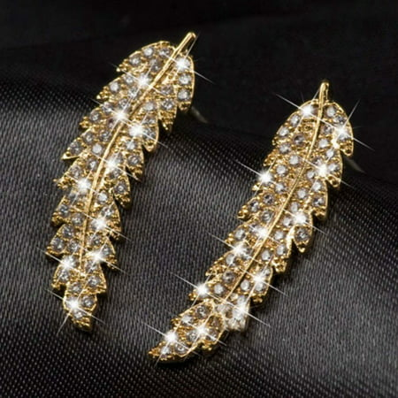 KABOER Gorgeous Feather Ear Climbers 925 Sterling Silver Wing Gold Clear Crystal Leaves Cluster Cuff Earrings For Women (Gold Cat Earring Cuff)