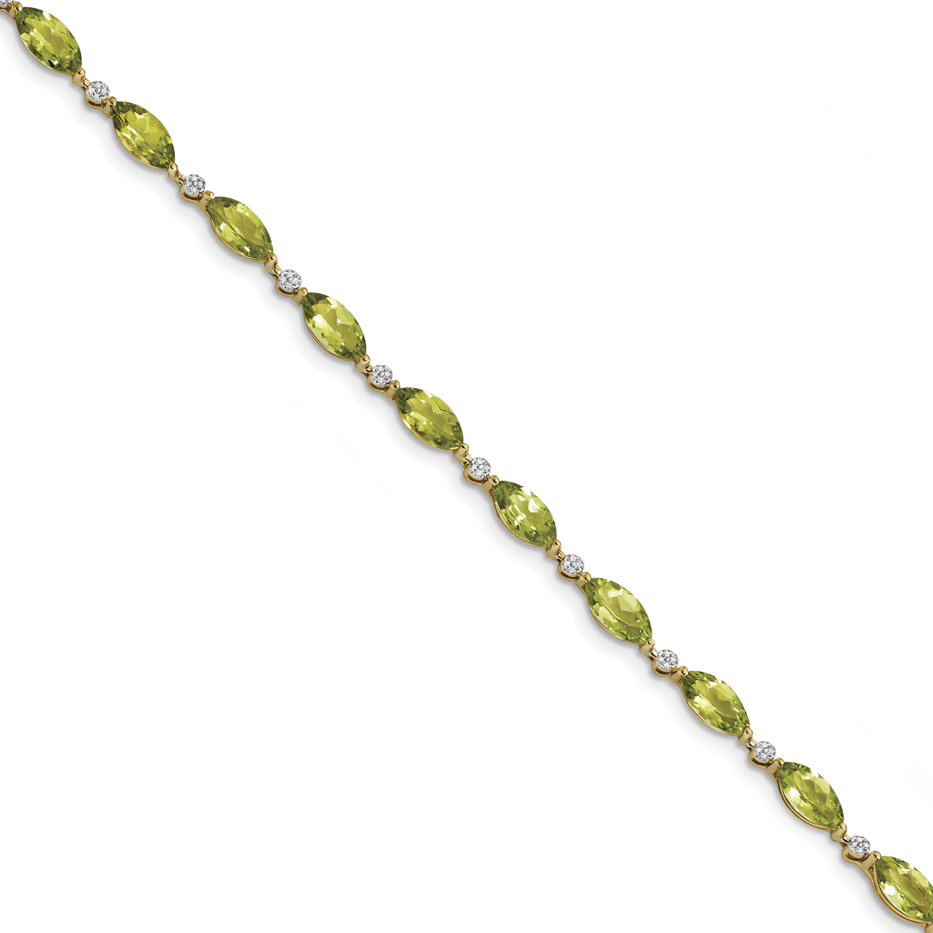 14k Yellow Gold Polished 0.01ct Diamond & 7.1ct Peridot 7.25in Bracelet by