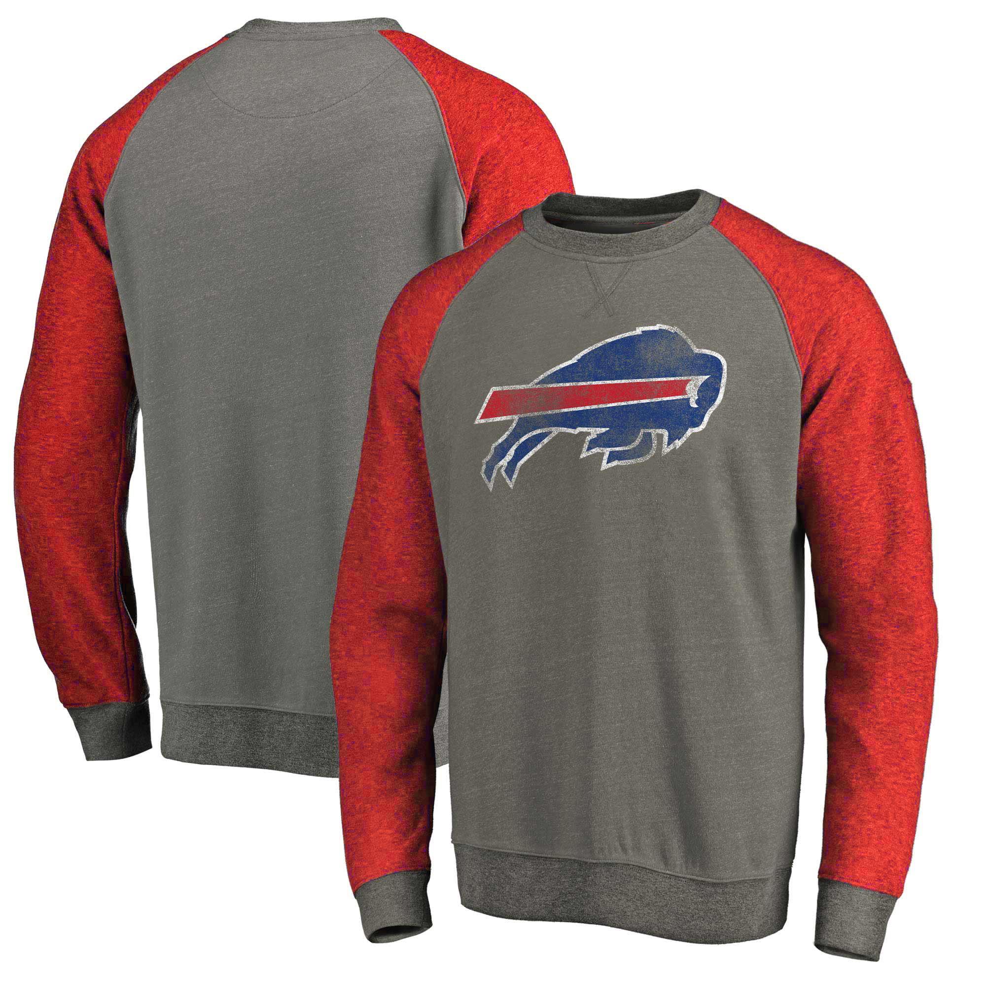 Buffalo Bills NFL Pro Line by Fanatics Branded Distressed Team Tri-Blend Pullover Sweatshirt - Heathered Gray/Red