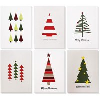 48-Pack Merry Christmas Greeting Cards Bulk Box Set - Winter Holiday Xmas Greeting Cards with Cute Christmas Tree Illustrations, Envelopes Included, 4.5 x 6.25 Inches